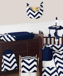 navy and white chevron zigzag baby bedding 9pc crib set by sweet