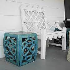 glazed square garden stool u0026 lattice garden bench