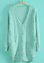 mint green geometric pockets single breasted acrylic cardigan