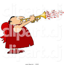 clipart of a cartoon valentine cupid man blowing love hearts out