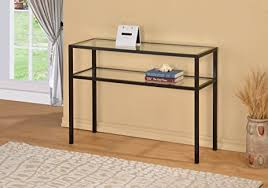 accent sofa table amazon com black metal glass accent sofa console table with shelf