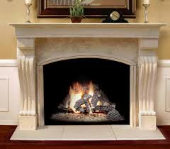 the travertino arch is a rugged stone mantel