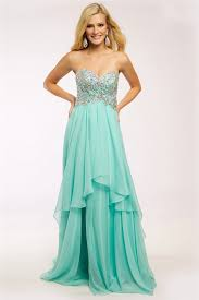 teal chiffon sweetheart a line strapless long prom dress prom