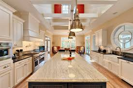 interior rectangular kitchen island with colonial white granite