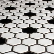 glazed hexagon tile with black hex accents were also popular