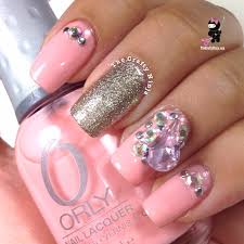 pink rhinestone nails debshops claws pinterest