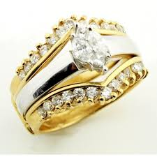 two tone wedding rings two tone wedding ring set real diamond and real gold