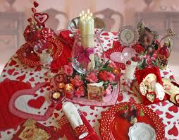 decorations cheerful red theme valentine table setting with love