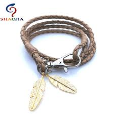 charm bracelet leather images Gold feather leather bracelet men wrap bracelets charm bracelets jpg