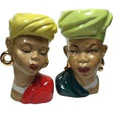 African Vases Pair Ethnic Tribal African Lady Head Vases From Headsupvintage On