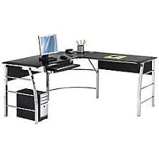 Computer Desks Office Depot Realspace Mezza L Shaped Glass Computer Desk Black Chrome Item