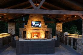 kitchen outdoor kitchen layouts with fireplace and led tv with