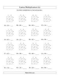 lattice multiplication strategy year 5 grade 5 class activities