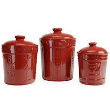 american atelier white ceramic canister set with red lid all