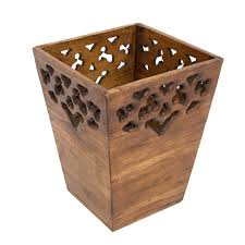 carved wooden waste bin small lifestyle arts and crafts