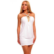 white mini party dress with rhinestones