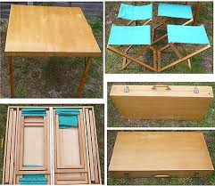 Diy Folding Wooden Picnic Table by Vintage Wood Fold Up Picnic Table With 4 Chairs Packs Together