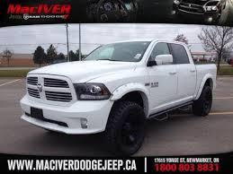 white dodge truck 2014 ram 1500 sport crew cab w 4 lift and rockstar 2 rims