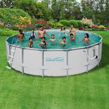 Swimming Pool In Backyard by Summer Waves Elite 18 Ft Round 52 In Deep Metal Frame Swimming