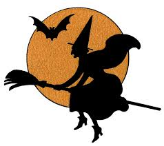 flying halloween witch with text free halloween vector clipart