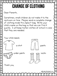 parent letter for change of clothing free from kinderalphabet