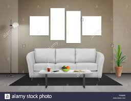 four isolated art canvas in living room for mockup sofa table