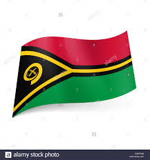 Black And Yellow Flag National Flag Of Vanuatu Red And Green Fields With Black And