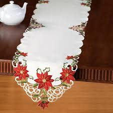 embroidered christmas embroidered christmas poinsettia table linens runner