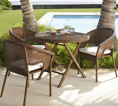Wicker Bistro Table And Chairs Palmetto All Weather Wicker Folding Bistro Table Honey