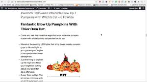 Halloween Outdoor Blow Up Decorations by Halloween Inflatable Blow Up 7 Pumpkins With Witch U0027s Cat Youtube