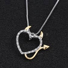 silver plated necklace images Hot gold and silver plated love heart accent devil heart pendant jpg