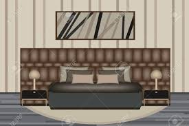 bed and side table set bedroom illustration elevation room with luxury bed side table