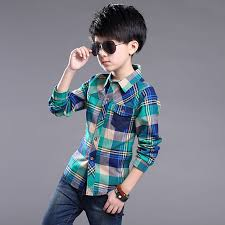 2016 boys shirts sleeve plaid boy shirt child