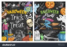 halloween holiday horror party poster on stock vector 726935764