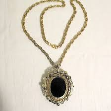 cameo necklace pendant images Vintage cameo necklace pendant brooch black white glass jpg