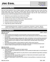Contractor Resume Sample by Prior Military Resume Examples Rental Lease Agreement Word
