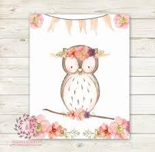 boho owl bohemian wall art print blush floral woodland nursery
