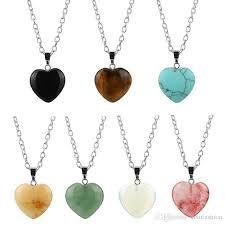 stone pendant necklace wholesale images Wholesale fashion natural stone pendant necklace simple love heart jpg