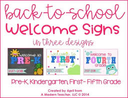 back to school welcome signs free by a modern tpt