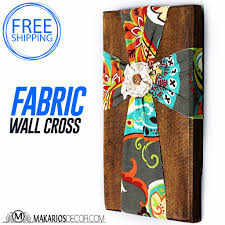 makarios decor cross fabric wall cross wooden cross