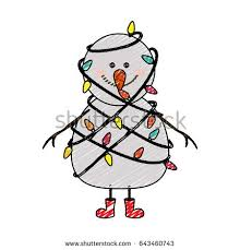 color crayon stripe cartoon snowman red stock vector 643460743