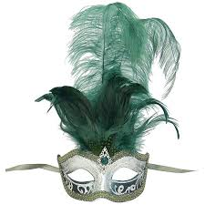 mask with feathers venetian mask in london for green and silver sisi feathered
