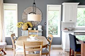 open layout farmhouse style dining room and kitchen with benjamin