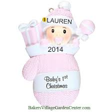 personalized ornaments baby mitten pink shop now