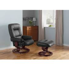 Recliner Massage Chairs Leather Santos Leather Recliner Chair And Footstool Black Furnico Village
