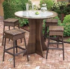 Patio Furniture Glass Table Bar Stools Glass Top Rattan Base Round Outdoor Coffee Table With