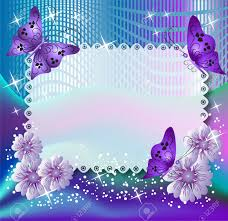 magic background with butterflies and flowers royalty free cliparts