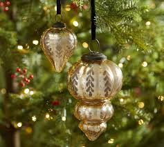 etched mercury glass ornaments chagne pottery barn