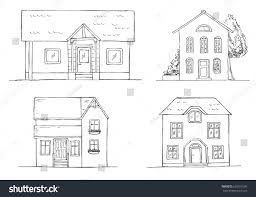 set different houses vector illustration sketch stock vector