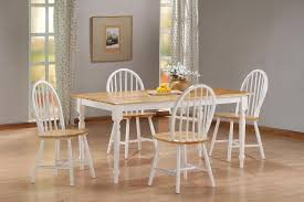Dining Room Sets White Country Wood Dining Room Set Dinettes Condo 5pc Kitchen Furniture